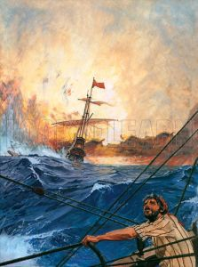 Vasco da Gama's ships rounding the Cape